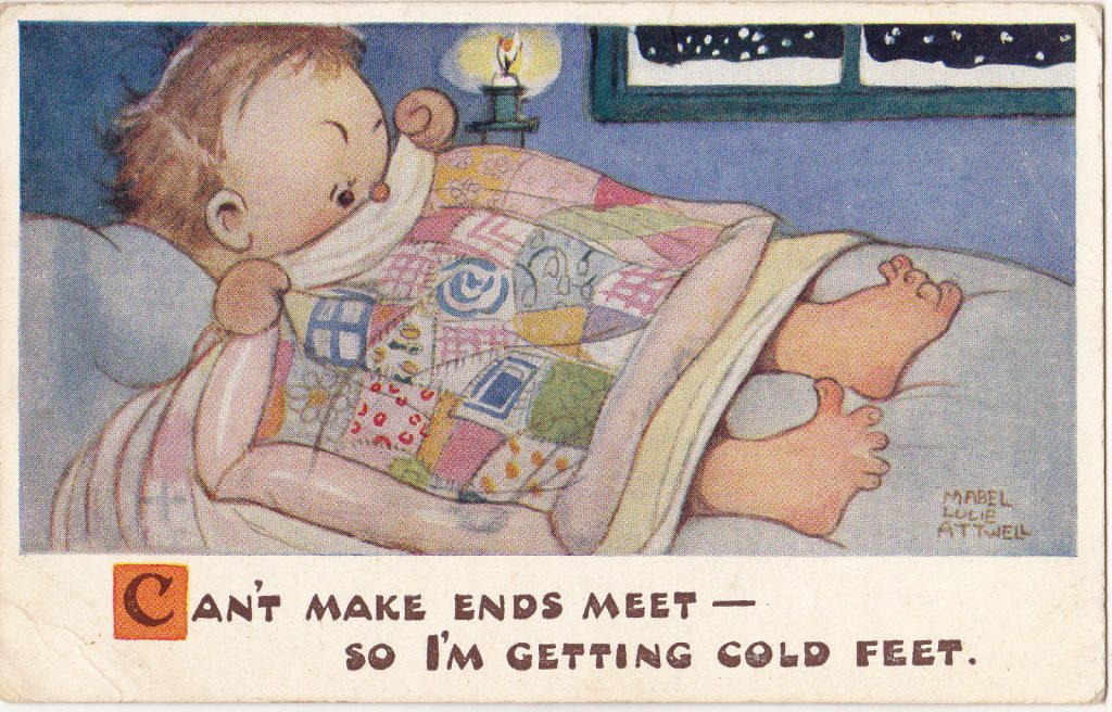 Mabel Lucie Attwell Postcard Cant Make Ends Meet Getting Cold Feet