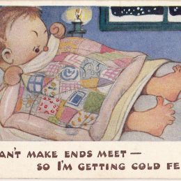 Mabel Lucie Attwell Postcard Can't Make Ends Meet Getting Cold Feet