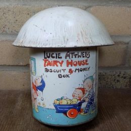 Mabel Lucie Attwell Fairy Mushroom House Biscuit and Money Box