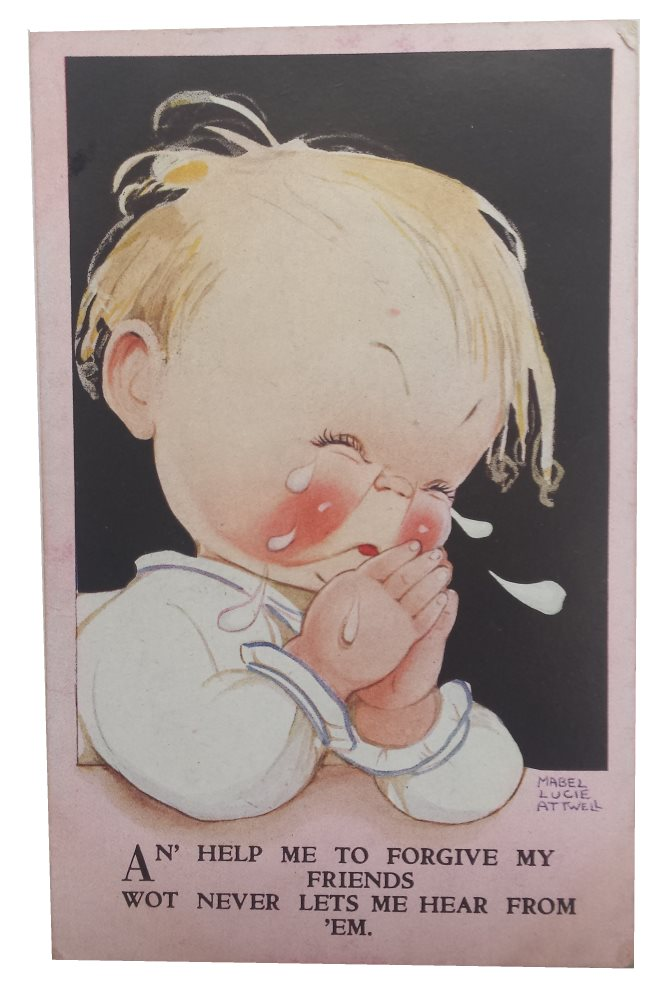 mabel lucie attwell postcard an help me to forgive my friends