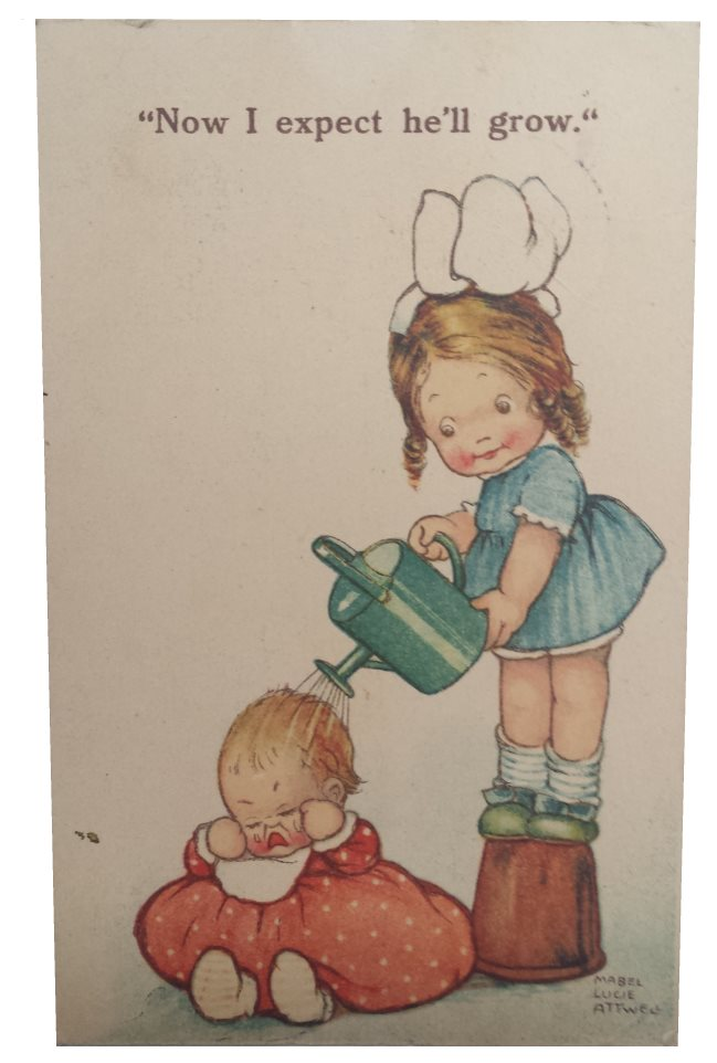 mabel lucie attwell postcard now i expect hell grow