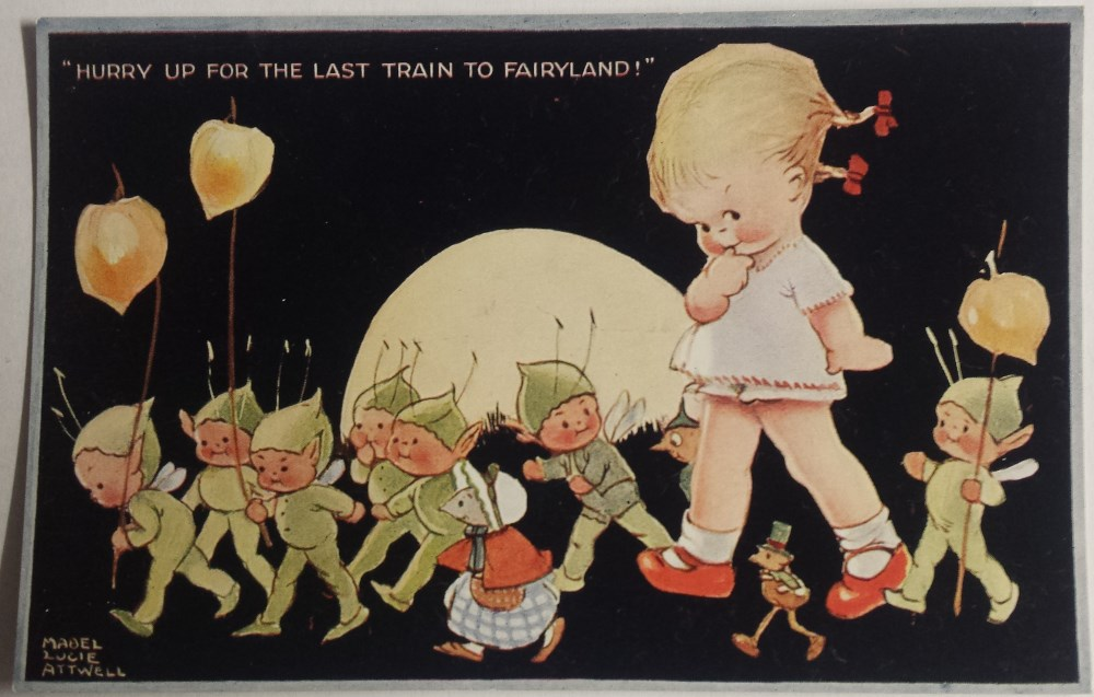 mabel lucie attwell last train to fairyland postcard