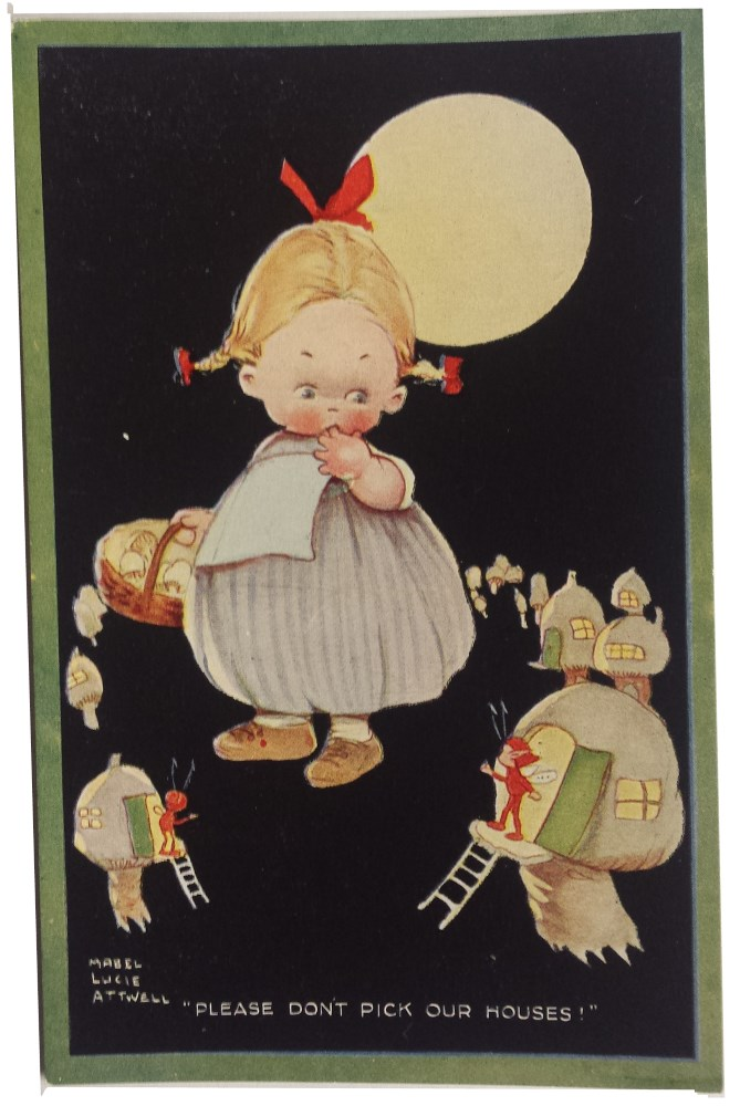 mabel lucie attwell please dont pick our houses postcard
