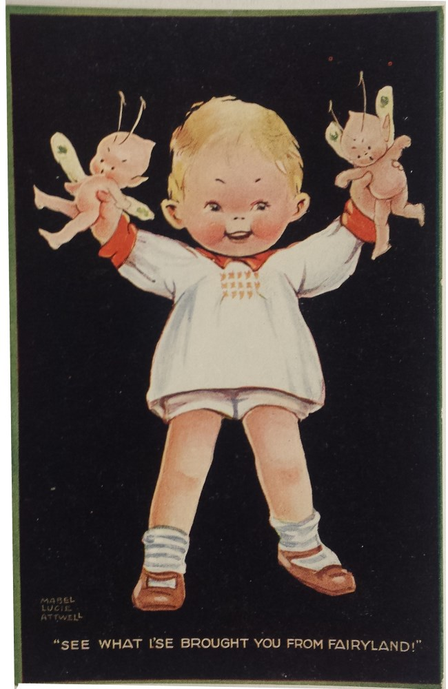 mabel lucie attwell see what ise brought you from fairyland postcard
